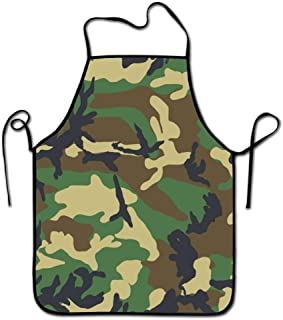 Icndpshorts Personalized Camouflage Green Print Adjustable Strap Adult Kitchen Aprons-Fashion Black Border Waterproof Cooking Aprons for Baking & BBQ & Art