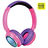 Contixo KB-300 Kid Safe 85DB Over the Ear Wireless Bluetooth LED Headphone with Volume Limiter, Built-in Microphone, Micro SD, FM Stereo Radio, Audio Input, Pink + Purple