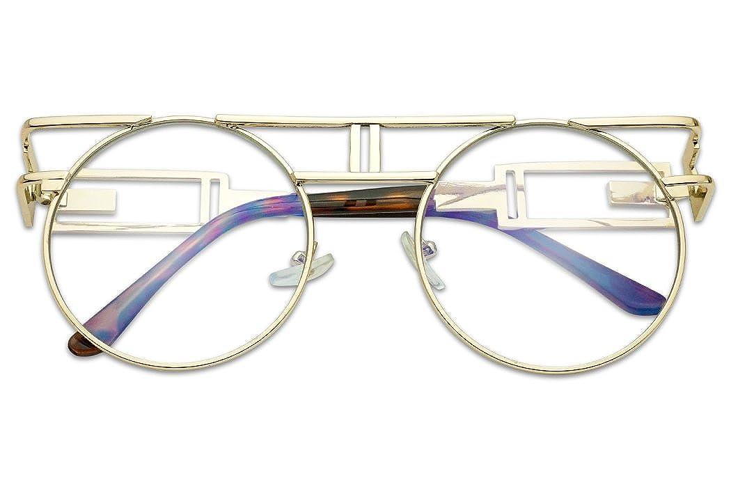 fb79c11065f Amazon.com  Vintage Round Steampunk Open Metal Brow Bar Flat Clear Lens  Fashion Glasses (Black