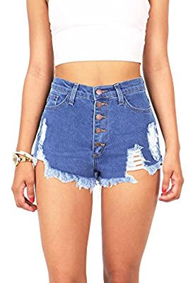Vibrant Women's Juniors High Rise Distressed Denim Shorts