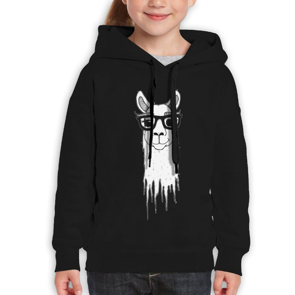 Fashion Girl's Sweatshirts,Warm Alpaca Glasses Cotton Hoodie Pullover For Children