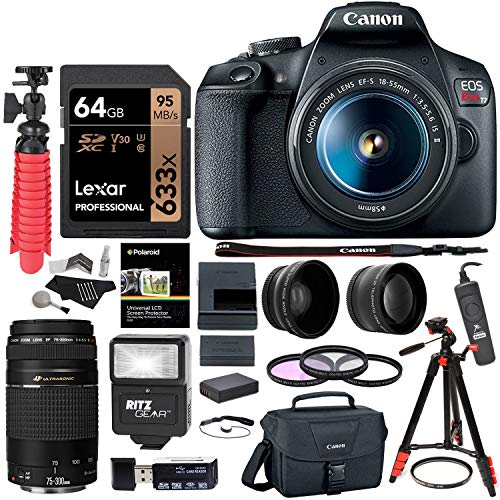 Canon EOS Rebel T7 24MP Camera Double Zoom Kit with Lexar 64GB, 57″ Tripod, Camera Flash, Flexi-Tripod, Wired Remote Shutter, Memory Card Reader and More