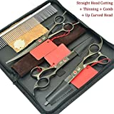Jiansy Thinning Scissors Dog Trimming Tool 7.0Inch Professional Animal Straight&Curved Cutting Shears HB0128 with bag