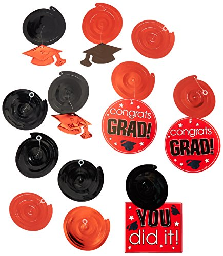 Amscan School Colors Graduation Party Swirls with Hanging Cutouts Ceiling Decorations Value Pack, Apple Red and Black, Plastic, Pack of 12