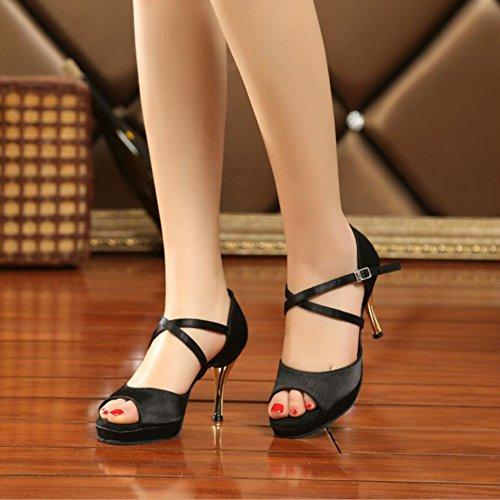 Tama XUE o para de y Zapato Mujeres Negro Heel Sandalia Zapatos Un Cuero Tela de UN Baile Performance Color Latinos Cubano 37 Fiesta Hebilla Noche Fwrqx1B4F
