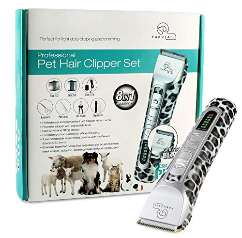 Fabutail Professional Dog Grooming Kit- Premium Quality Pet Hair Clippers Set- Low Quiet Noise Rechargeable Dog and Cat Grooming & Trimming Tools- Adjustable Comb Lengths, Scissors, Nail Trimmers