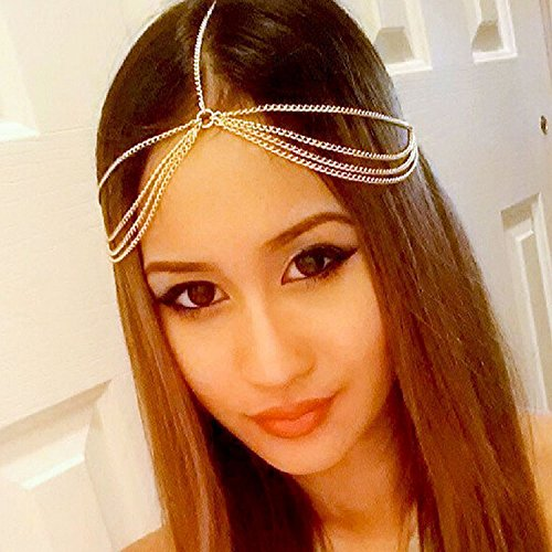 A&C Vintage Princess Head Chain for Women, Fashion 4 Tier Alloy Headband for Girl. (Gold Color) - Head Princess Indian