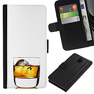 ZCell / Samsung Galaxy Note 3 III / Whiskey Rocks Drink Alcohol Gold / Caso Shell Armor Funda Case Cover Wallet / Whisky Rocas bebida alcohol Or