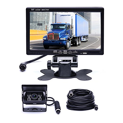 Car Backup Camera System, Hikity Waterproof 18 IR LED Night Vision Reverse Camera + 7″ TFT Rear View Monitor Vehicle Parking System for RV/Bus/Trailer/Truck (65ft 4-Pin Aviation Video Cable)
