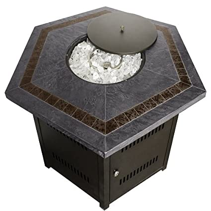 Hiland Fire Pit Hexagon with Slate Table, Large - Amazon.com : Hiland Fire Pit Hexagon With Slate Table, Large