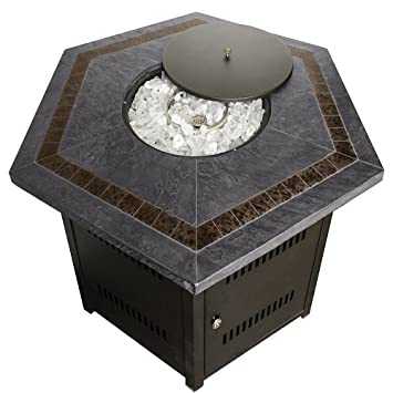 Marvelous Hiland Fire Pit Hexagon With Slate Table, Large