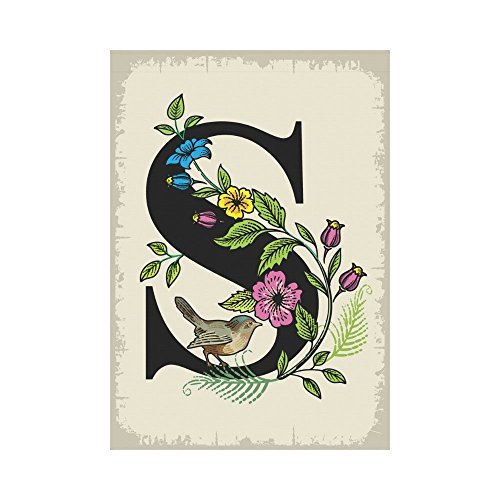 InterestPrint Floral Monogram S Polyester Garden Flag Outdoor Banner 28 x 40 inch, Cute Bird Letter S Decorative Large House Flags for Party Yard Home Decor Review