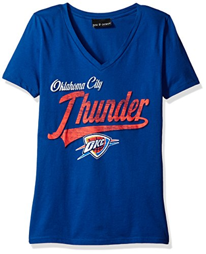 NBA Oklahoma City Thunder Women's 100% Cotton Baby Jersey Short Sleeve V-Neck Tee, Large, Blue