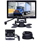 Car Backup Camera System, Hikity Waterproof 18 IR LED Night Vision Reverse Camera + 7 TFT Rear View Monitor Vehicle Parking System for RV/Bus/Trailer/Truck (65ft 4-Pin Aviation Video Cable)