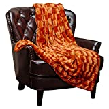 "Chanasya Super Soft Fuzzy Faux Fur Elegant Rectangular Embossed Throw Blanket   Fluffy Plush Sherpa Cozy Pumpkin Microfiber Blanket for Bed Couch Living Room Fall Winter Spring (50"" x 65"") - Orange"