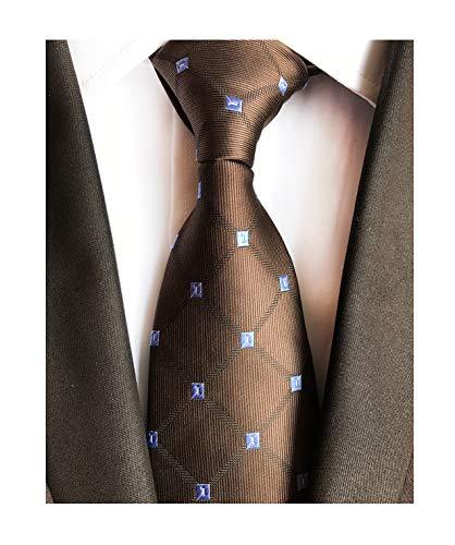 Dark Brown Holiday Neckties Check Silk Tie Suit Fitness Dating For Men Youth Boy (Chain Silk Necktie)