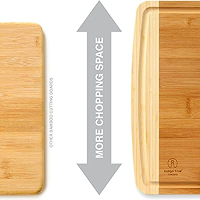 "Bamboo Cutting Board with Juice Groove Eco-friendly, Extra Large and Extra Wide (approx. 18"" x 14""), Reversible, Custom Design Only from Indigo True Company"