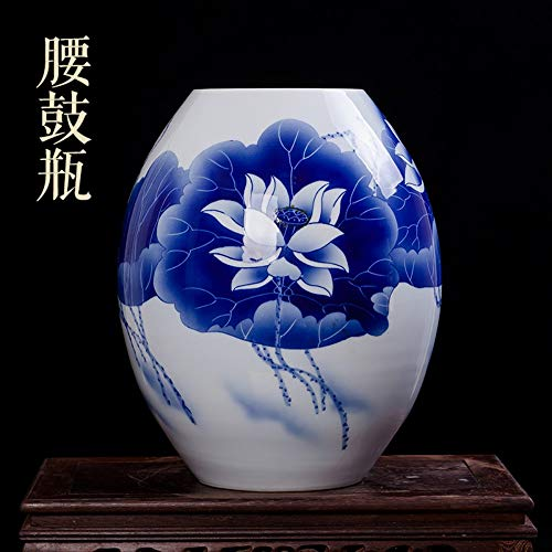 - Decorative Vases for Living Room Table,Handmade Vintage Chinese Teal Ceramic Drum Shaped Vase for Home Decor,Hand Painted Blue Lotus Flowers,Modern Elegant China Porcelain Artwork