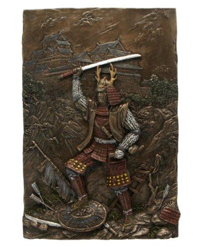 12.25 Inch Cast Bronze Finish Samurai Standing on Shields Wall Plaque
