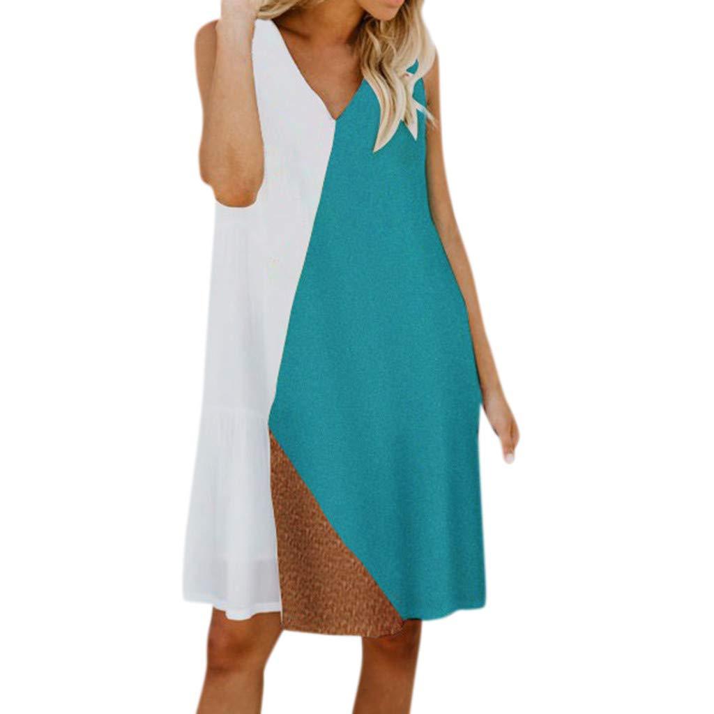 Women's Dresses V Neck Tank Sleeve Patchwork Casual Mini Dress (XL, White)