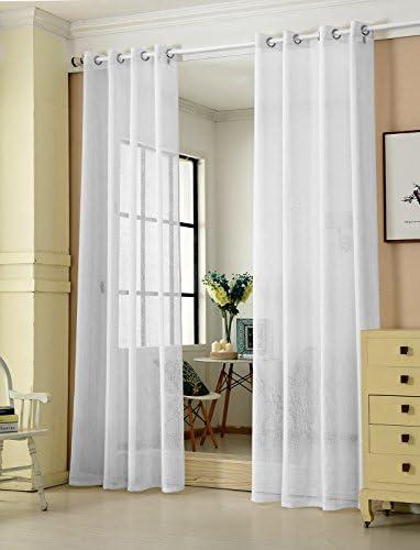 Laneetal Cortina Translúcida Moderno(2 Piezas) Evitar Rayos UV la Luz para Sala Cuarto Comedor Salon Cocina Habitación 140 x 245 cm Color Blanco 0880218z: Amazon.es: Hogar