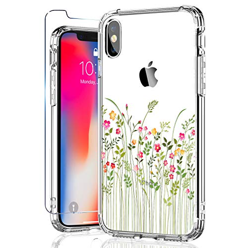 KINFUTON iPhone Xs Case and iPhone X Case with Screen Protector, Women Girls Clear Flowers/Floral Case with Hard PC Back and Soft TPU Bumper Slim Phone Case for iPhone Xs - Design Case Hard Protector