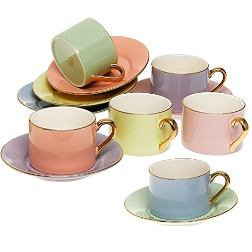 Yedi Houseware Classic Coffee and Tea Cups & Saucers|Complete, Premium Quality Porcelain Set In Beautiful Pastel Colors with Gold Plated Rims & Handles|Stunning Hostess Gift Idea|7oz  (Set of 6)