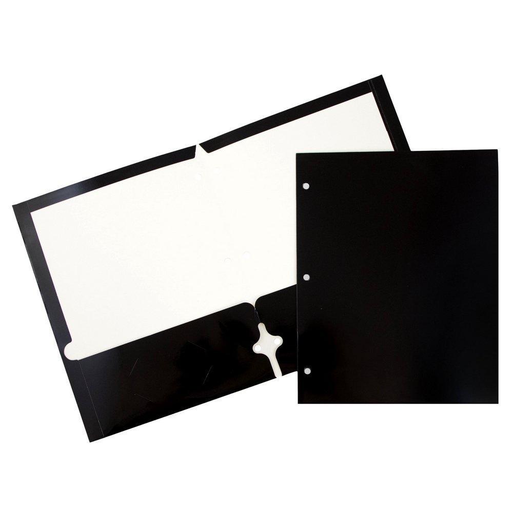 JAM Paper Glossy Two Pocket 3 Hole Punched Presentation Folder - Black - 100/pack