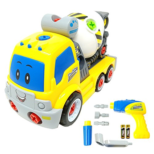 Take Apart Toy Cement Mixer Truck TG650 – Build Your Own Cement Mixer Boys Toy with Working Drill – Toddler Toy Gift For 3, 4, 5 Year Old Boys & Girls - By ThinkGizmos (Trademark Protected) Build Toy Truck