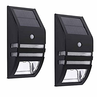 Solar Outdoor Wall Sconce Accent Lights Metal Fence Post Lamp Led Motion Sensor Waterproof Security White Lighting For Patio Yard Stair Step Deck Driveway Walkway Safety Nightlight 2PACK
