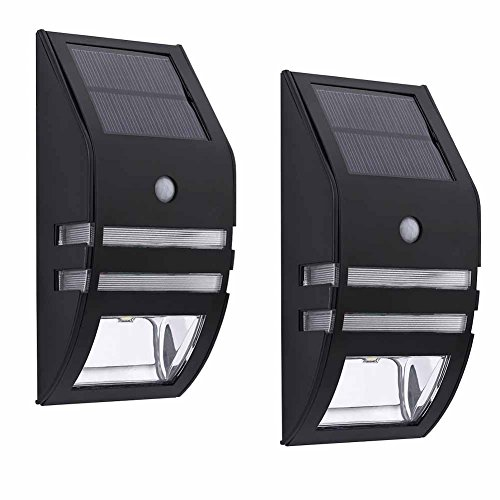 Solar Outdoor Wall Sconce Accent Lights Metal Fence Post Lamp Led Motion Sensor Waterproof Security White Lighting For Patio Yard Stair Step Deck Driveway Walkway Safety Nightlight 2PACK by POPPAP