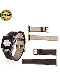 Apple Watch Band 42mm 38mm Genuine Calf Leather fit iWatch & Sport & Edition Series 1 Series 2 Super Soft Strap Classic Pin Buckle for Women and Men