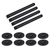 Rustic State Industrial Strength Oil Rust Free Black Pipe Metal Furniture Legs and Flanges 12 Inch Table Legs Set of 4 (Black)