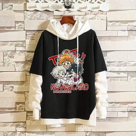 Sudadera de Anime Unisex Sudadera con Capucha de Manga Larga de The Promised Neverland Emma Falso Dos suéter Norman Ray Hoodie