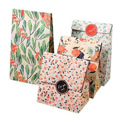 12 Sachets Kraft Sac Cadeau Papier d'emballage cookie avec autocollant en motif fleurs de style coréen pour mariage anniversaire 13 x 8 x 23cm (4 motifs, 3 sachets par motif)