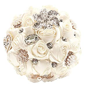 Abbie Home Handmade Bridal/Brooch/Bridesmaids Bouquet Satin Roses with Crystal Diamond Pearl Decor (Beige)