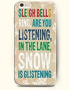 OOFIT Authentic Cases for iPhone 6 Plus (5.5inch) - Hard Back Plastic Case /Merry Christmas Xmas/ Sleigh Bells Ring, are you Listenning in the Lane, Snow is Glistening