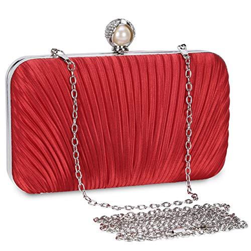 Selighting Bolsa de Noche Mujer Bolso de Mano Bolso Clutch de Embrague Monedero para Mujeres y Señoras para Boda Partido Fiesta Cumpleaños (Rojo-Style2)