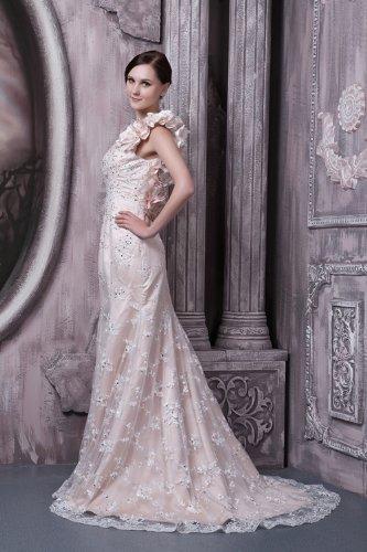 Rueckenfrei ueber Vierkantansatz GEORGE Elfenbein Hochzeitskleider Brautkleider Spitze BRIDE Brautkleid Satin Prinzessin 4XnAwTtqZx