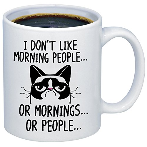 Funny Grumpy Cat Mug - I Don't Like Morning People... Or Mor