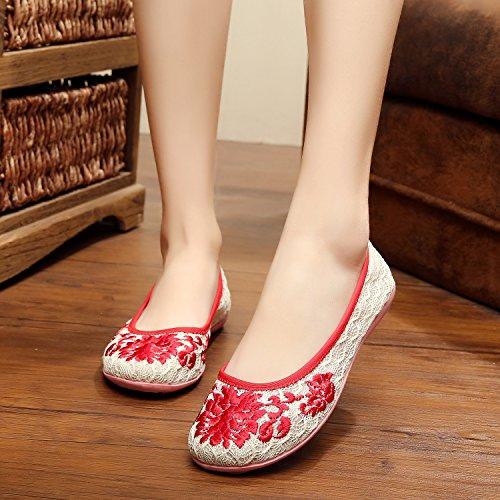 MN Gestickte Schuhe, Leinen, Sehnensohle, ethnischer Stil, weibliche Schuhe, Mode, bequem , beige , 40