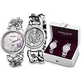 Akribos XXIV Silver Tone Ladies Watch Set AK677SS