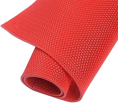 バルコニーカーペット プラスチックマット、グレー/赤6 Mm暗号化肥厚浴室トイレ中空pvcマット防水マット浴室キッチン屋外の滑り止めカーペット (Color : Red, Size : 1.2m X 1m)