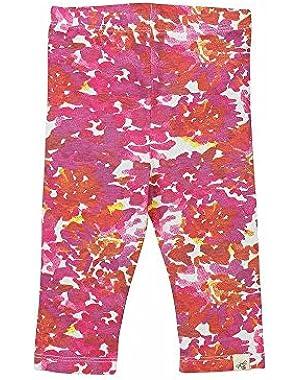 Organic Cotton Floral Capri Leggings: Pink - 18m
