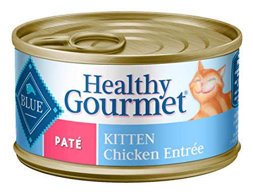 Blue Buffalo Healthy Gourmet Natural Kitten Pate Wet Cat Food, Chicken 3-oz cans (Pack of 24), Model:800112