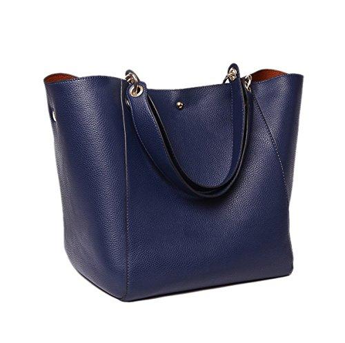 Mujer Estilo Nuevo Retro Moda Gran Capacidad Color Sólido Solo Hombro Blue
