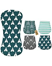 iZiv 4 PACK Baby Baby Burp Cloths Feeding Nursing Towel Accessory, 3 Layers Absorbent Printing Soft Cotton 0-2 Years
