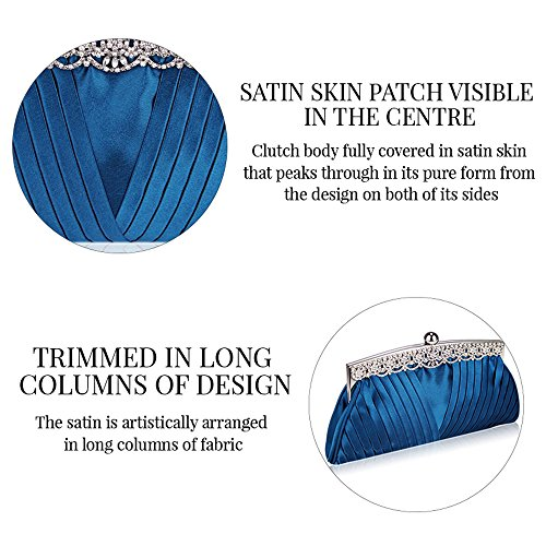 Bolso de embrague para mujer, diseño cristal Navy Ruched Satin Clutch