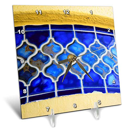 - 3dRose Lens Art by Florene - Interesting Objects - Image of Blue Band of Morrocan Tiles On Florida Building - 6x6 Desk Clock (dc_317058_1)