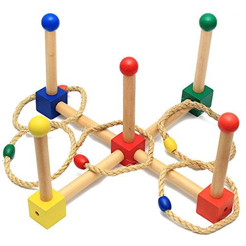 Ring Toss Game - Wooden Ring Toss Set for Camping/Carnival/Outdoor/Lawn/Party/Yard - with Carrying (Indoor Carnival Games)